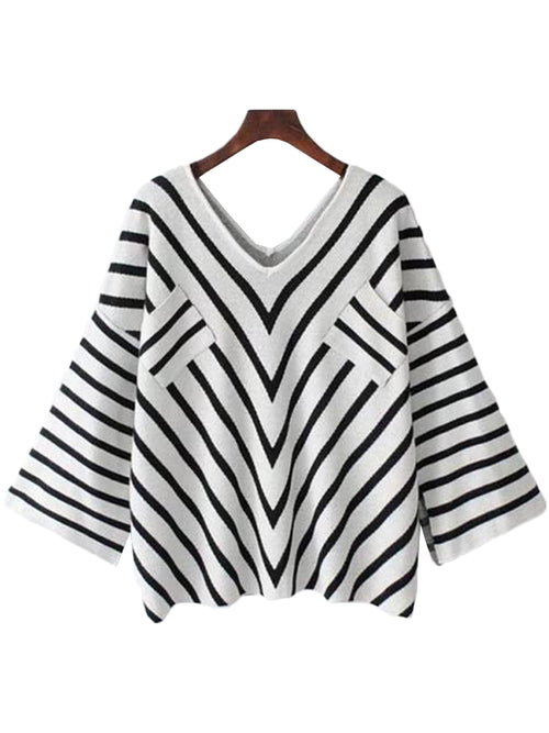 'Kate' V-striped Flare Knit Top