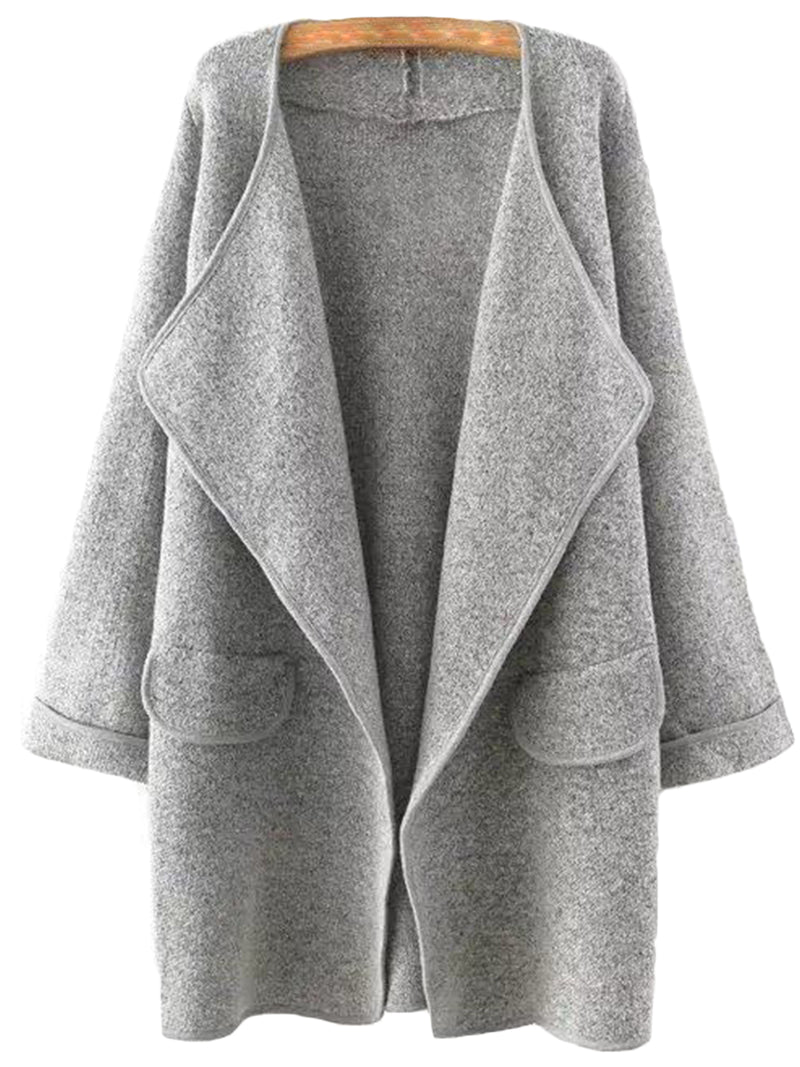 Goodnight Macaroon 'Tami' Marl Knit Leather Trim Wrapped Open Cardigan Grey Front
