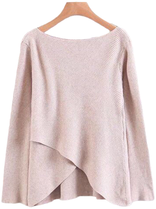 'Nellie' Front Wrap Flare Sleeve Sweater