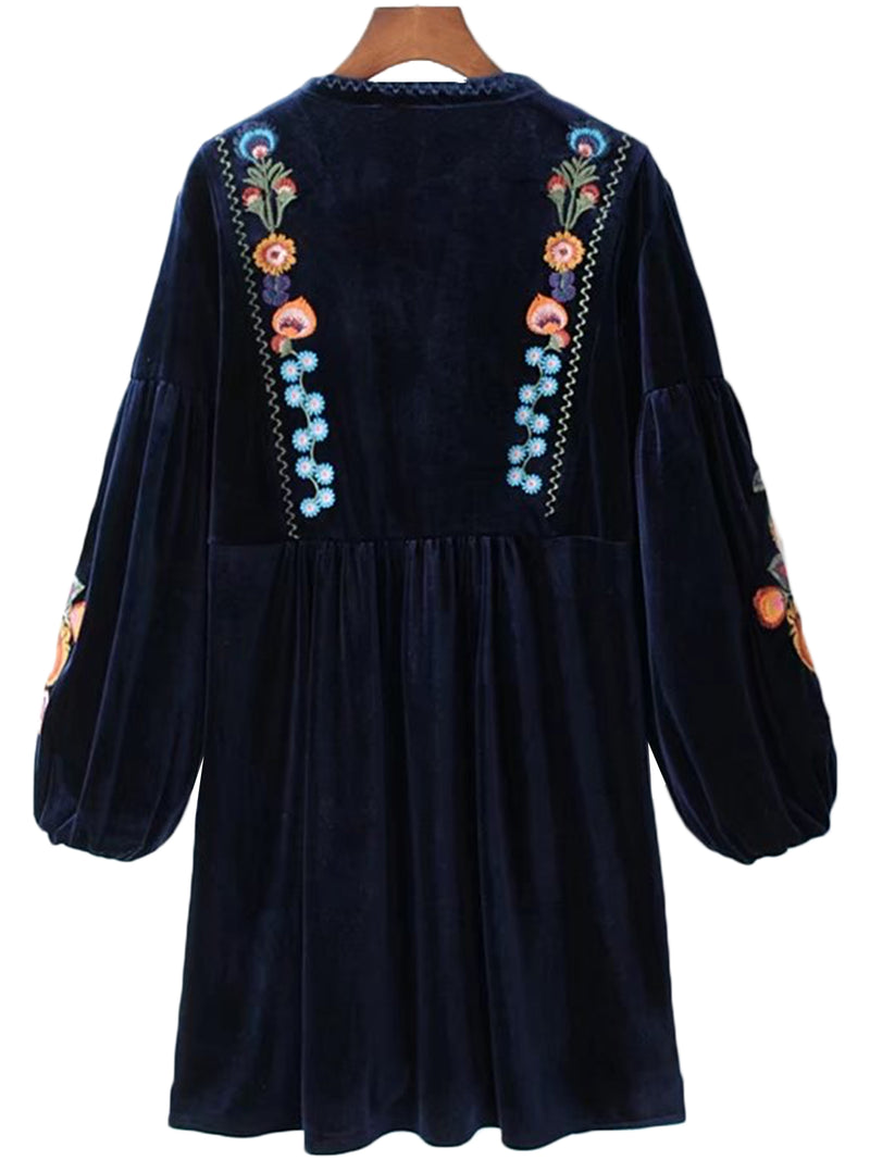 'Kenia' Embroidered Navy Blue Velvet Peplum Dress