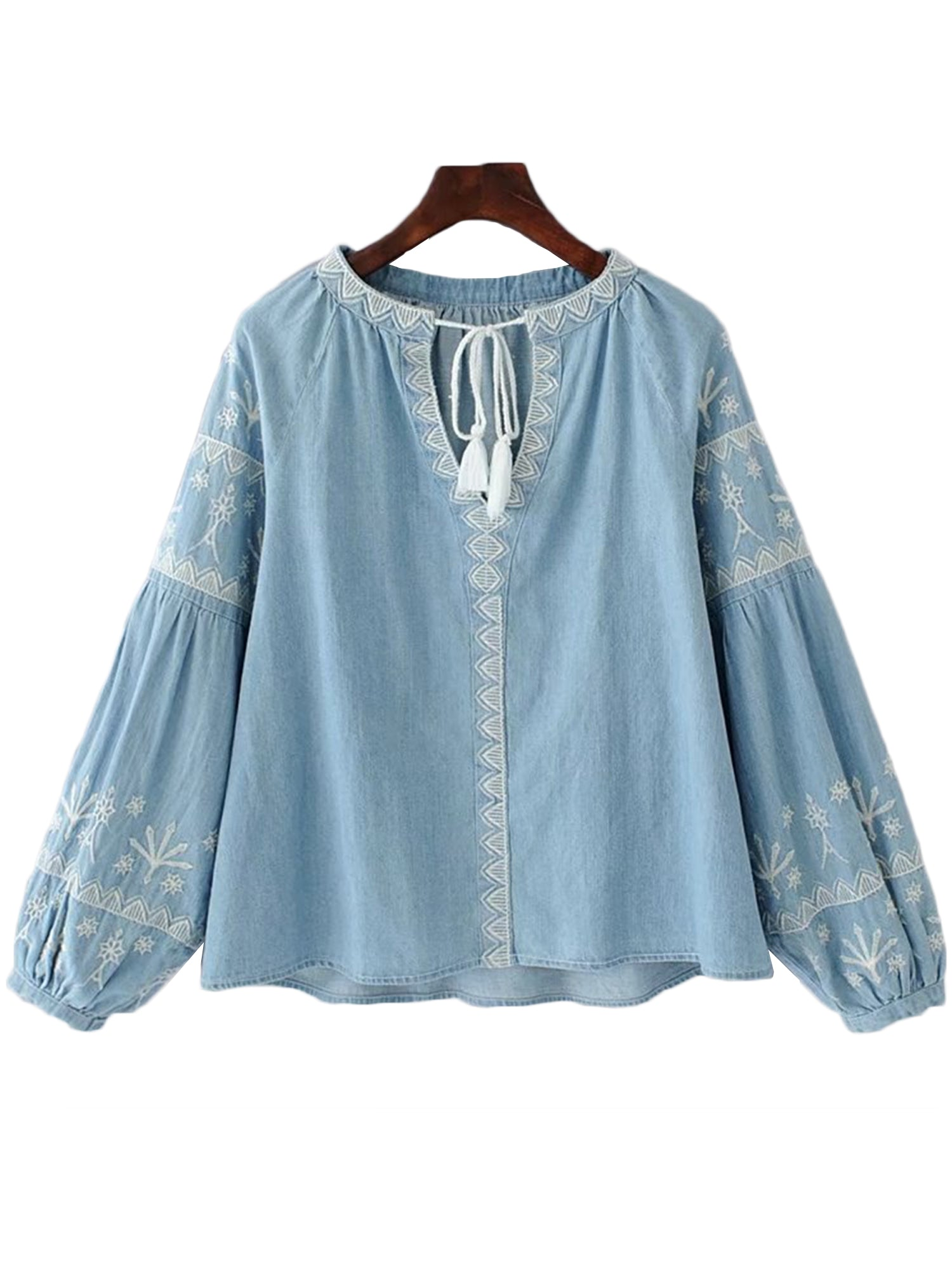 'Nita' Tassels Embroidered Chambray Top