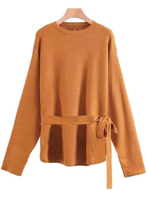 'Jovan' Crewneck Belted Sweater ( 3 Colors Available )