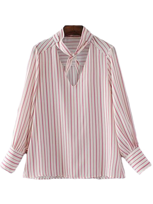'Renna' Choker Tied Stripe Shirt