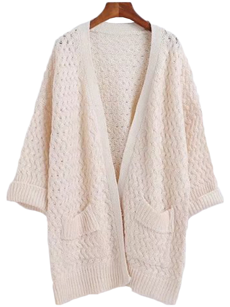 'Lidia' Ribbed Open Cardigan