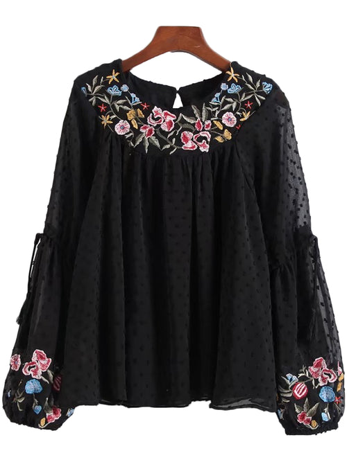 'Otelia' Embroidered Dotted Lace Blouse