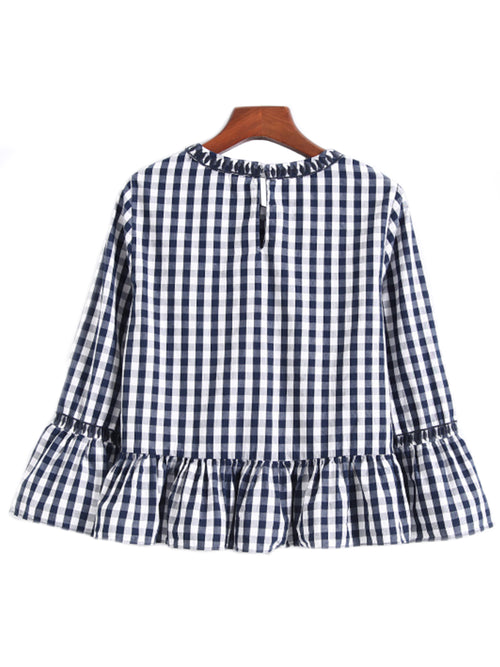 'Vengie' Gingham Embroidered Peplum Dolly Top