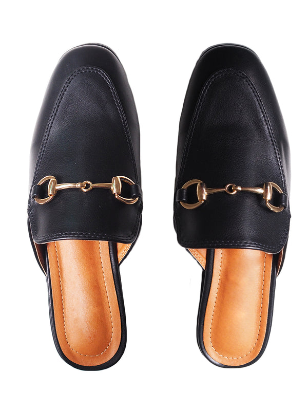 'Otha' Black Leather Horsebit Mules