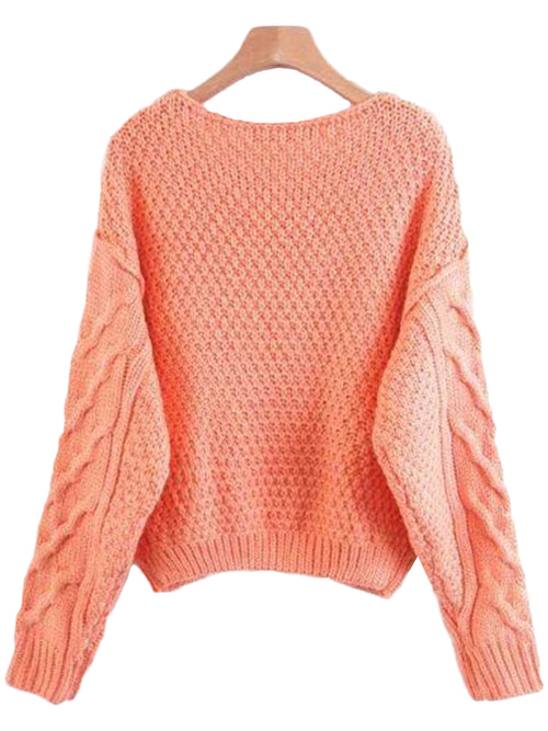 'Pura' Coral Ribbed Sweater