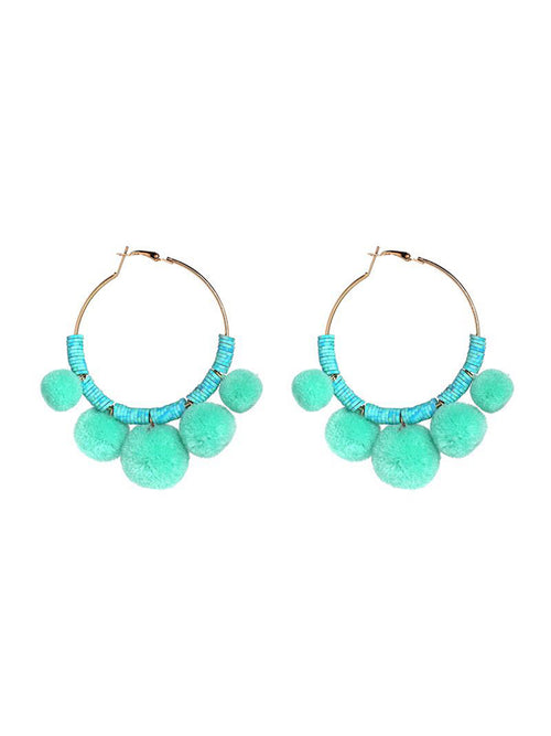 'Genia' Pom Pom Ring Earrings (4 Colors Available)