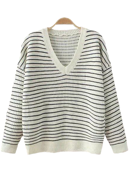 'Devon' V-neck Thin Stripe Sweater