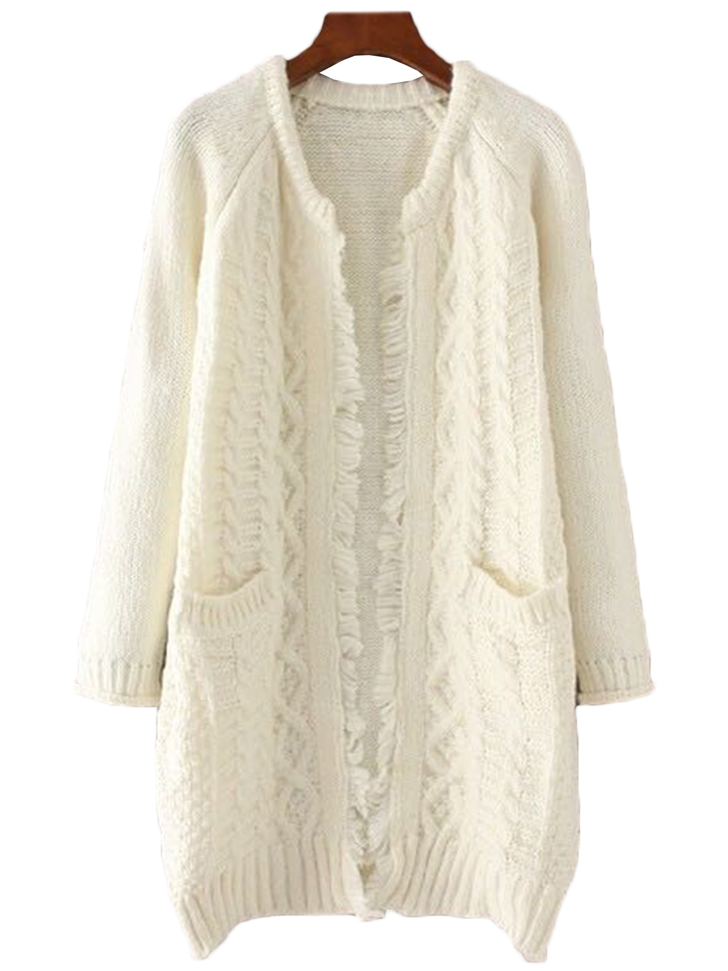 Macy' Cable Knit Fringe Open Cardigan – Goodnight Macaroon