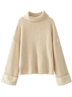 Goodnight Macaroon 'Retta' Cream White Ribbed Cropped Turtleneck Sweater Front