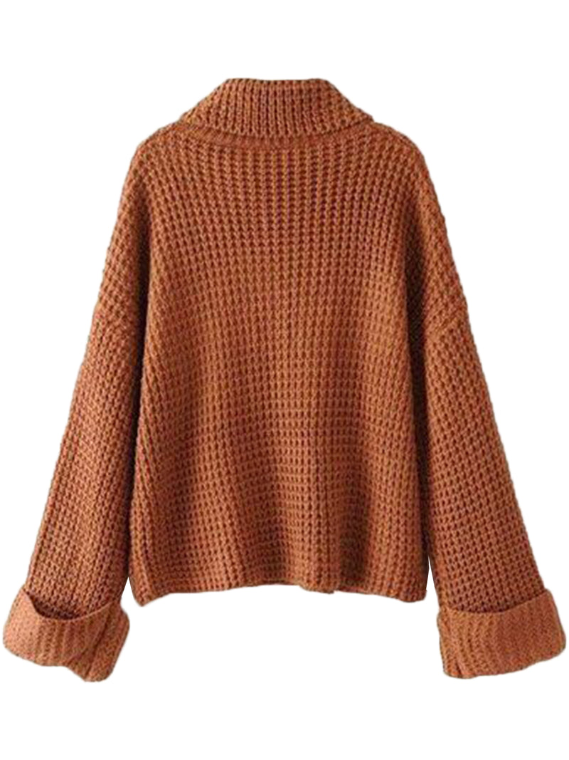 Goodnight Macaroon 'Retta' Cognac Ribbed Cropped Turtleneck Sweater Back
