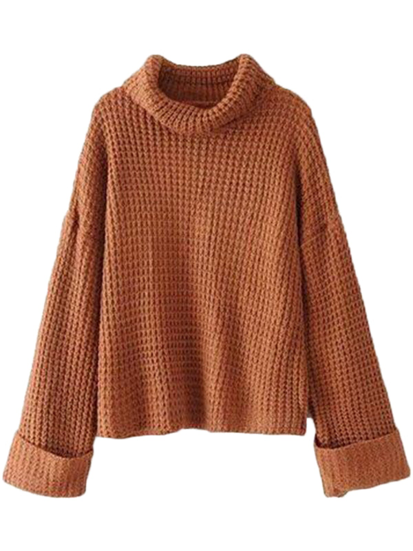 Goodnight Macaroon 'Retta' Cognac Ribbed Cropped Turtleneck Sweater Front