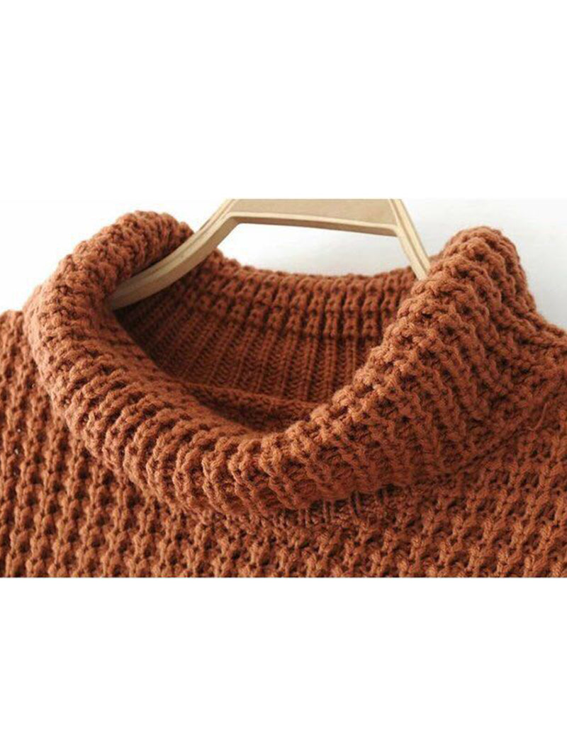Goodnight Macaroon 'Retta' Cognac Ribbed Cropped Turtleneck Sweater Neckline