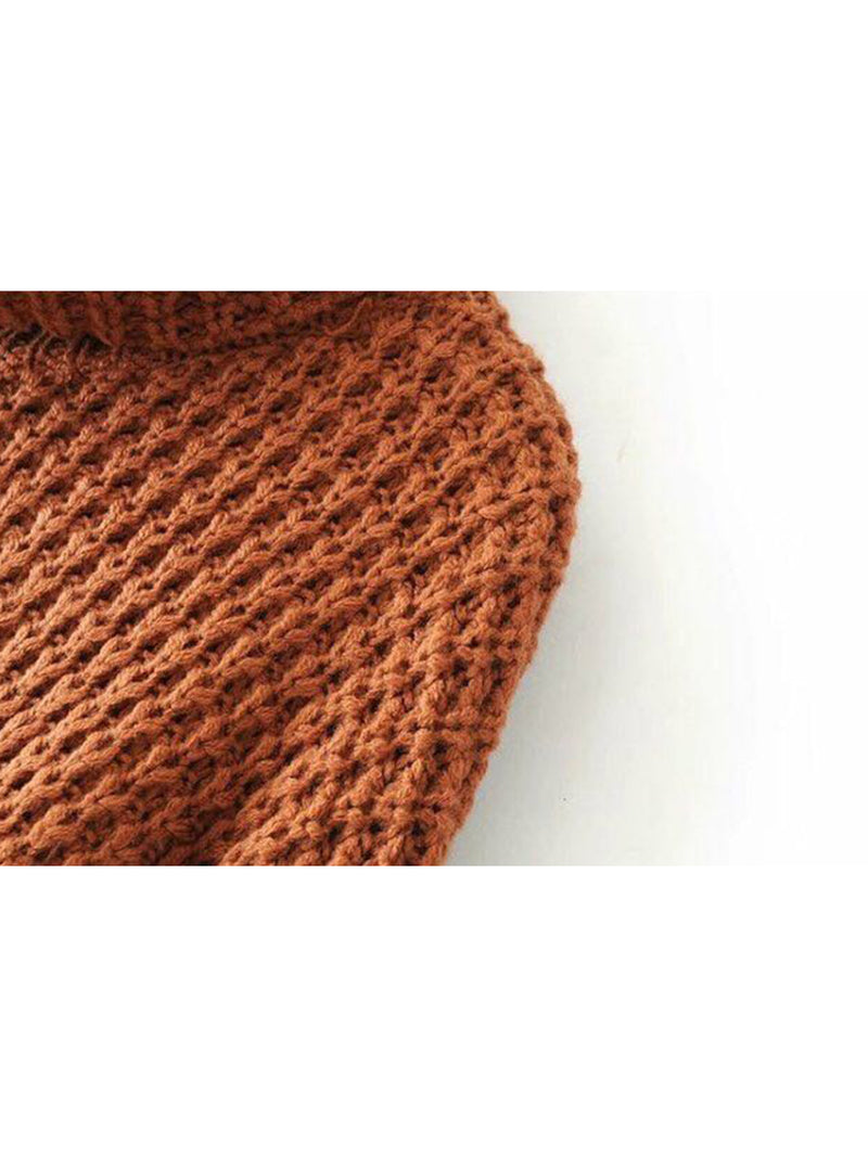 Goodnight Macaroon 'Retta' Cognac Ribbed Cropped Turtleneck Sweater Shoulder