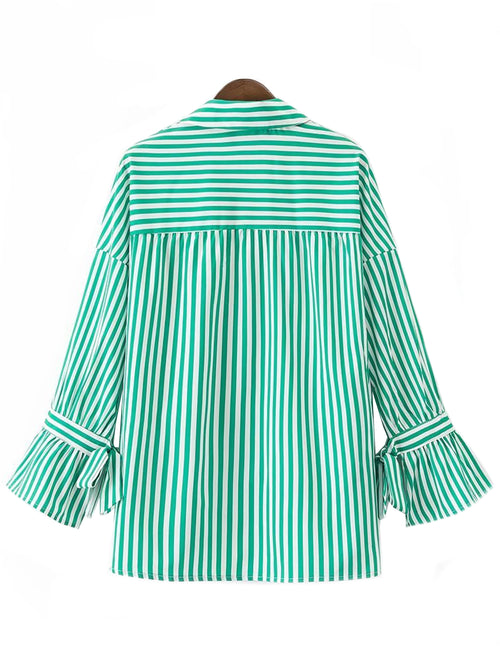 'Patricia' Apple Green Striped Shirt