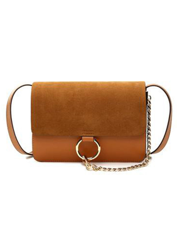 Goodnight Macaroon 'Anja' Faux Suede Leather Cross Body Cognac Brown