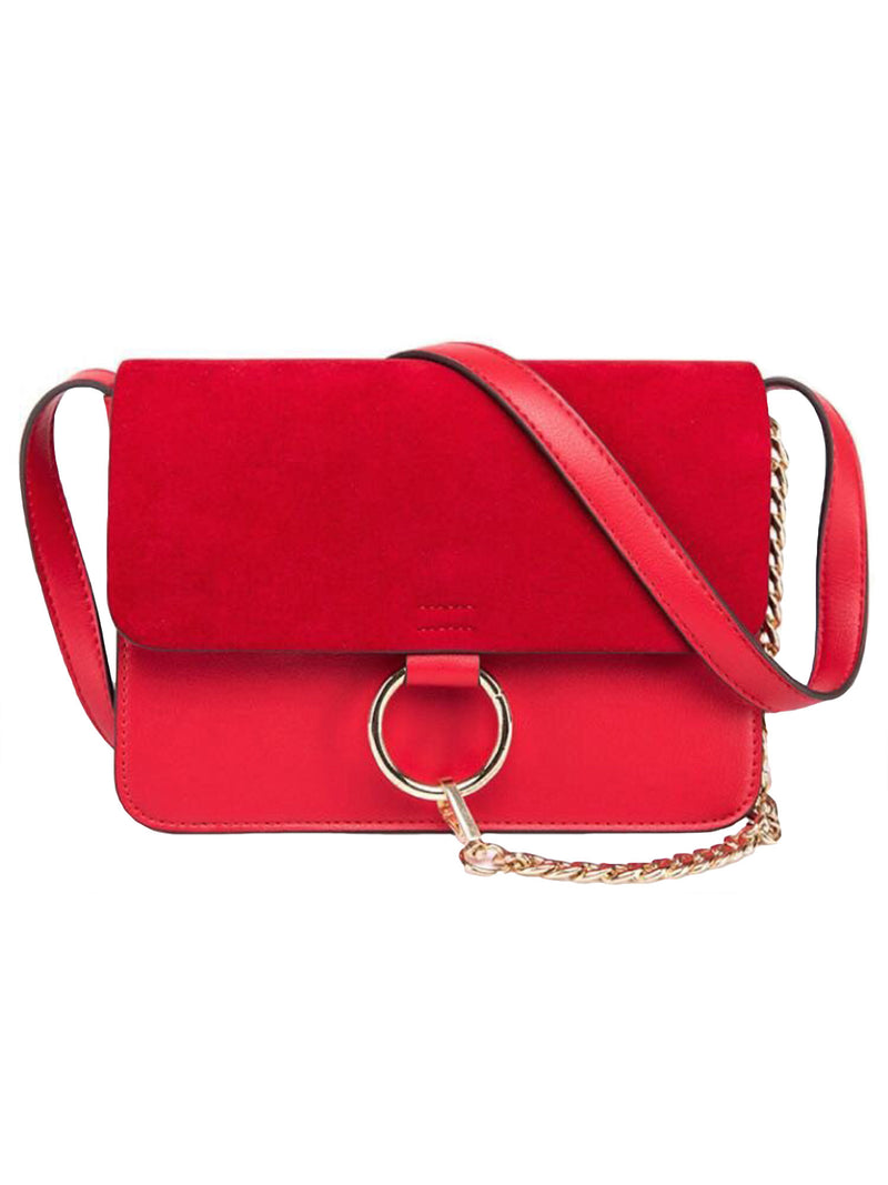 Goodnight Macaroon 'Anja' Faux Suede Leather Cross Body Bag Red