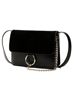 Goodnight Macaroon 'Anja' Faux Suede Leather Cross Body Bag Black