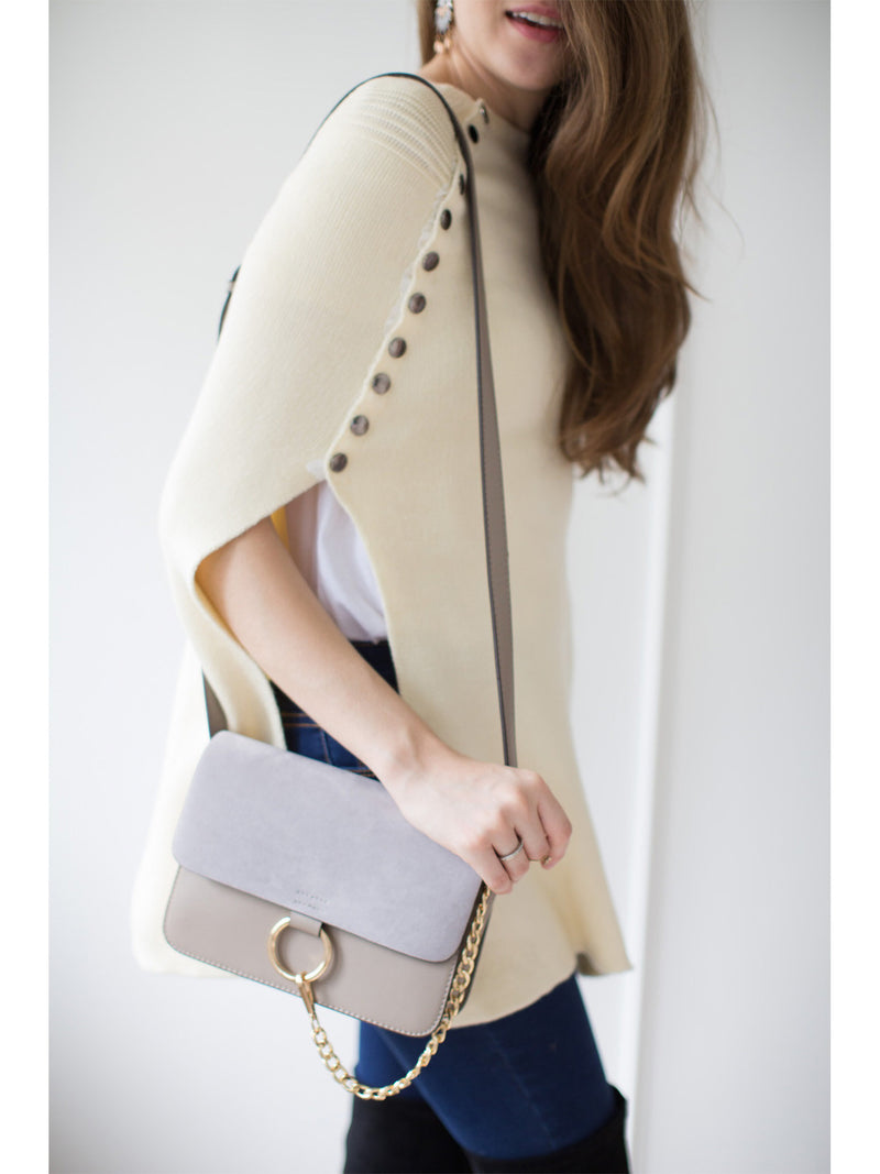 Goodnight Macaroon 'Anja' Faux Suede Leather Cross Body Bag Model Grey