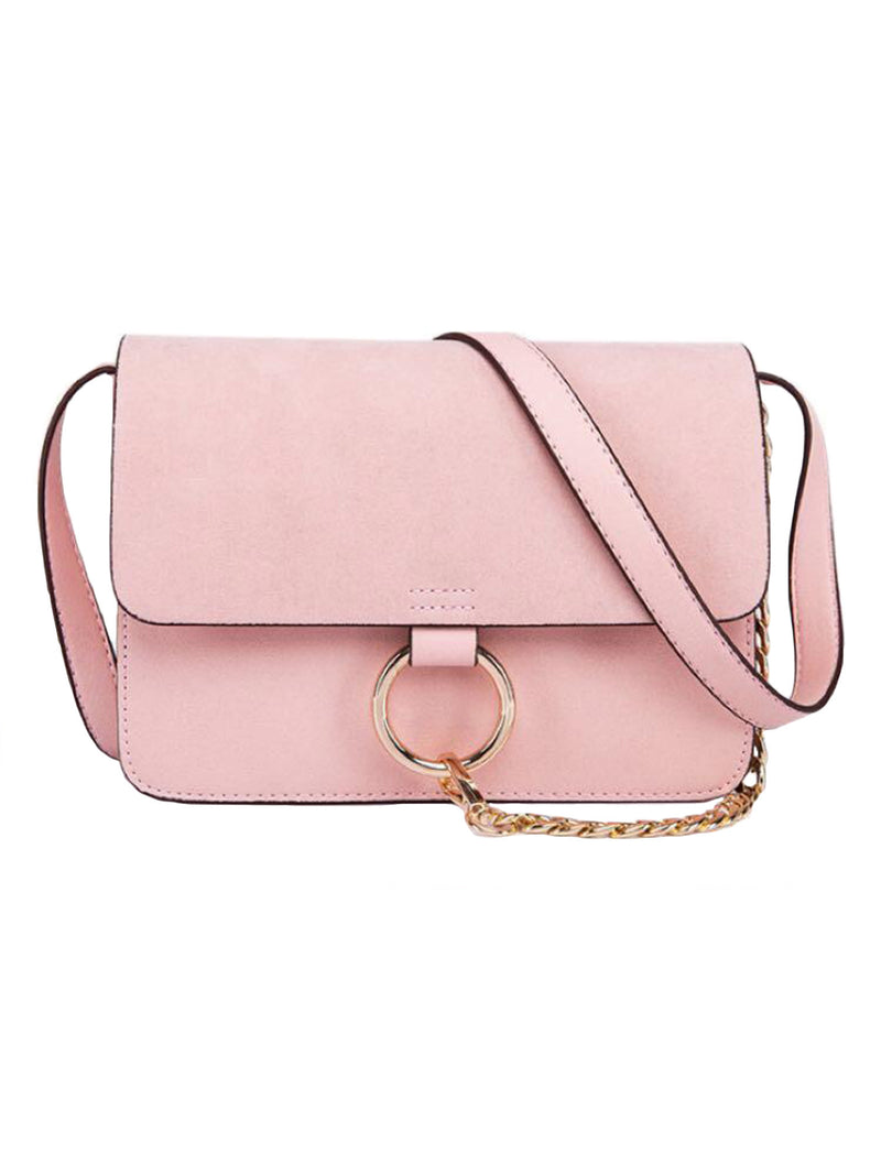 Goodnight Macaroon 'Anja' Faux Suede Leather Cross Body Bag Pink