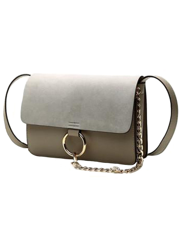 Goodnight Macaroon 'Anja' Faux Suede Leather Cross Body Bag Grey