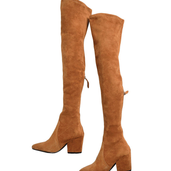 decc2798603  Marlo  Tan Over The Knee Suede Leather Boots - Goodnight Macaroon