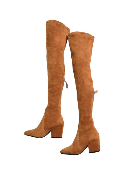Marlo Tan Over The Knee Suede Leather Boots Goodnight