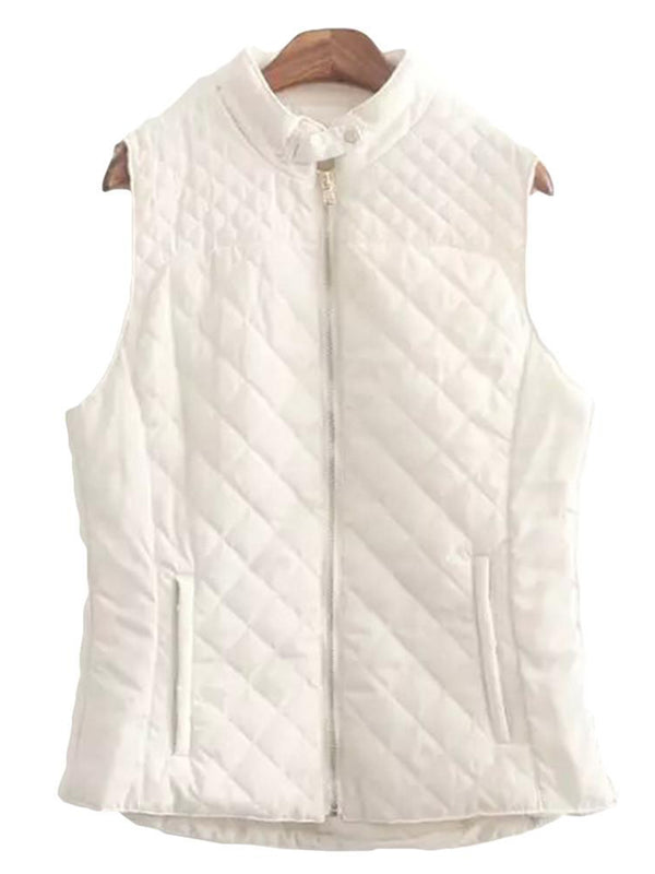 'Lauren' Cream White Quilted Puffer Vest