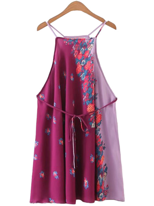 'Yoshiko' Purple Kimono Print Cami Dress (Two Colors)