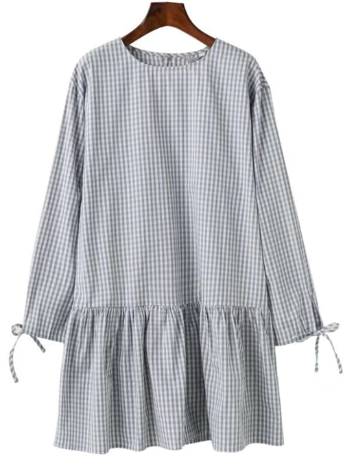 'Jennine' Gingham Peplum Dress (Two Colors)