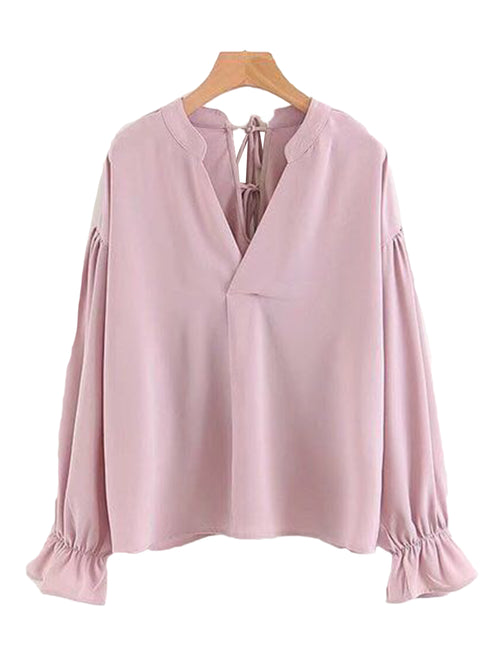 'Vanessa' Back Tied V-neck Blouse (2 Colors)