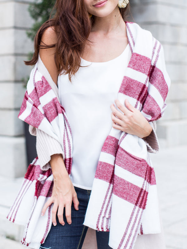 'Linda' Plaid Blanket Scarf
