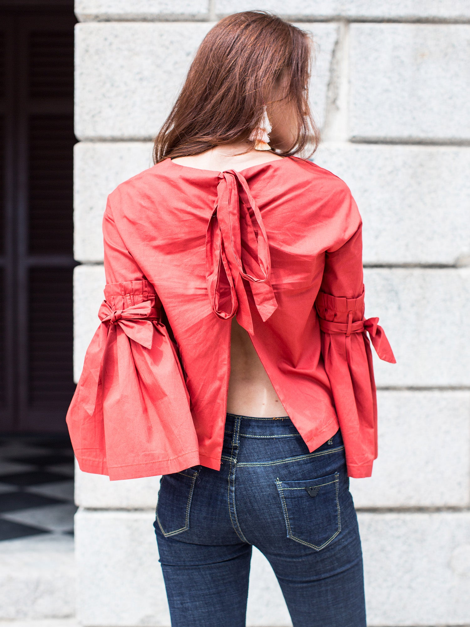 'Sheila' Red Tied Sleeve Top