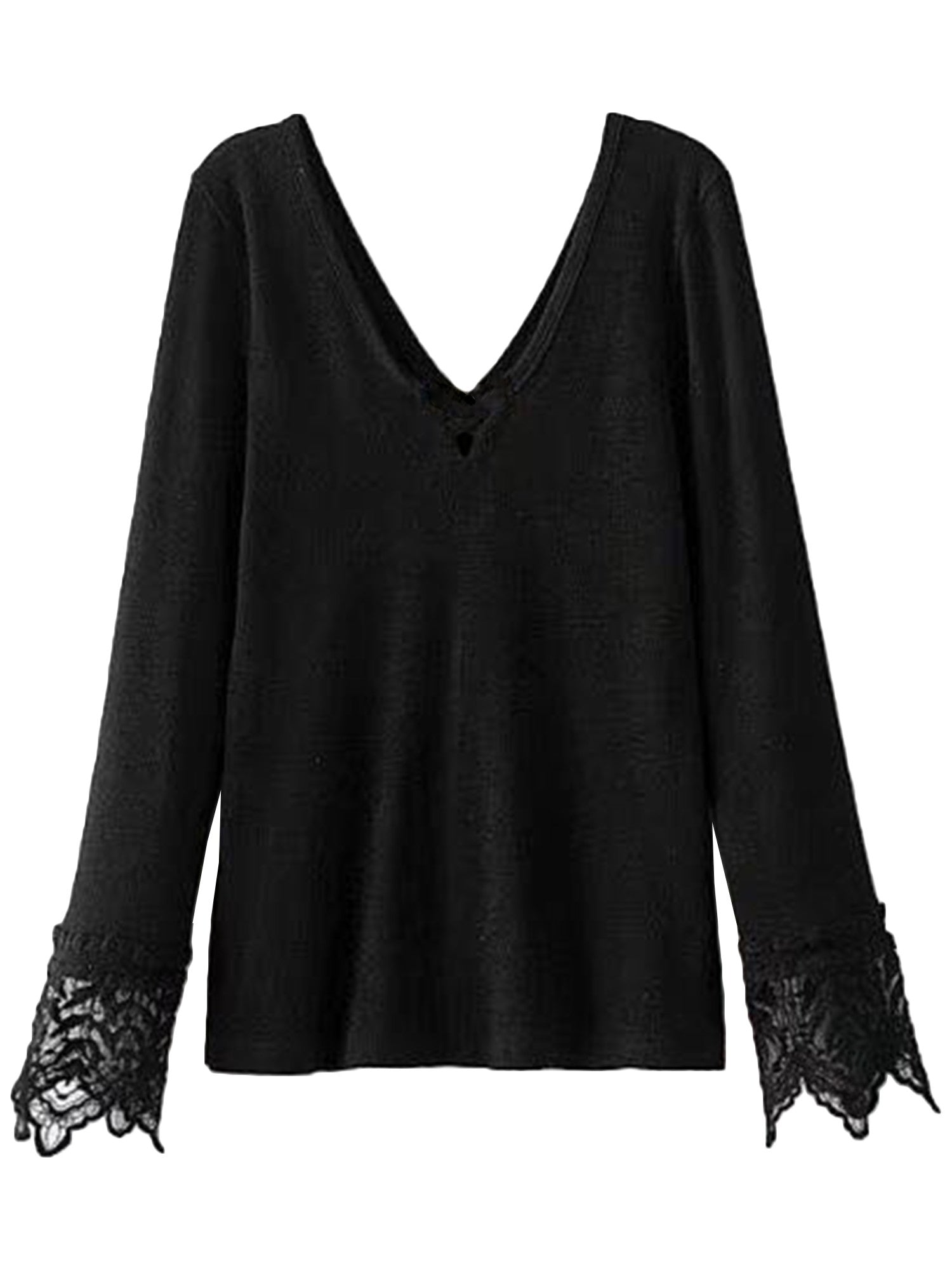 'Selene' V-neck Lace Plaeated Sleeve Top