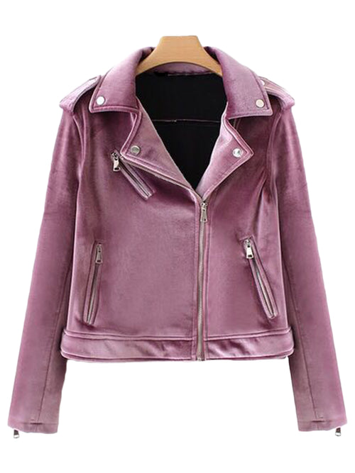 'Maude' Velvet Biker Jacket (3 Colors)