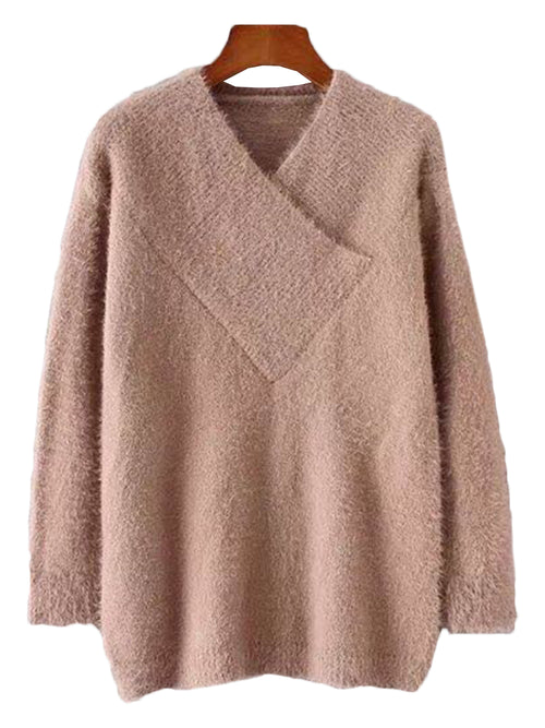 'Miami' Fuzzy Wrap V-neck Sweater ( 3 Colors Available )