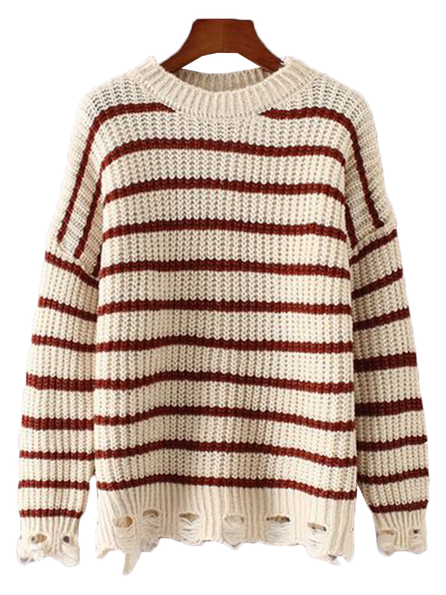 'Qiana' Striped Eyelet Sweater (4 Colors)