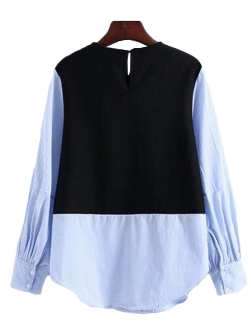 'Julie' Blue Mock Layer Top