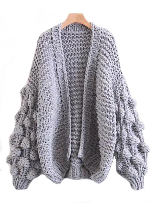 'Abbey' Hand-knitted Pom Pom Sleeve Chunky Cardigan Product Gray Front Goodnight Macaroon