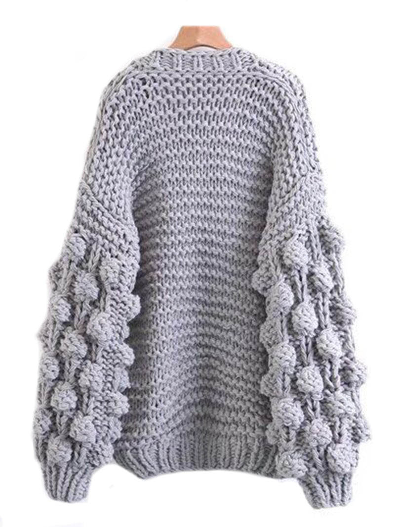 'Abbey' Hand-knitted Pom Pom Sleeve Chunky Cardigan Product Gray Back Goodnight Macaroon