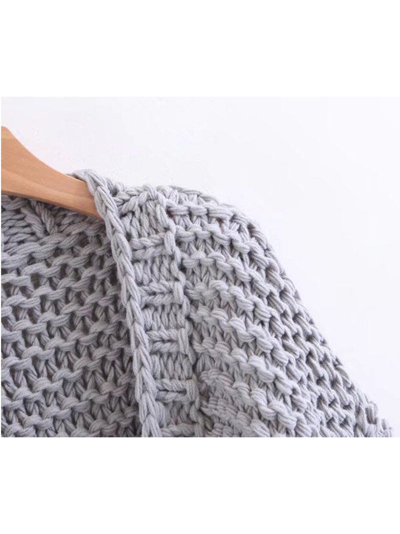 'Abbey' Hand-knitted Pom Pom Sleeve Chunky Cardigan Product Gray Detail Goodnight Macaroon