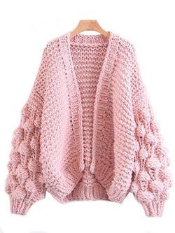 'Abbey' Hand-knitted Pom Pom Sleeve Chunky Cardigan Product Pink Goodnight Macaroon