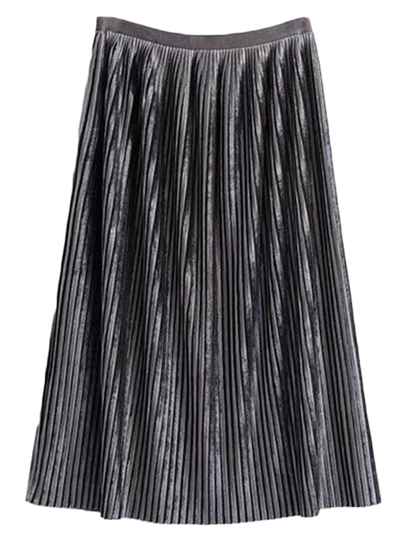 'Wengie' Chenille Pleated Midi Skirt ( 3 Colors )