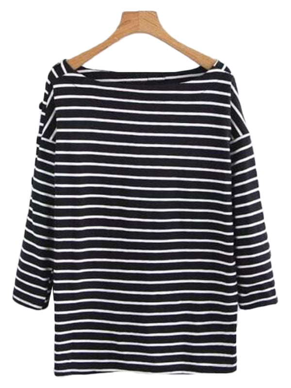 'Megali' Boat-neck Striped Top (3 Colors)