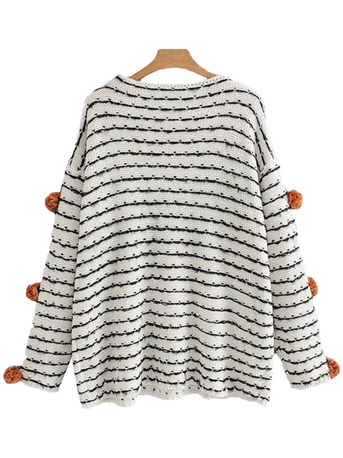'Pagan' Pom Pom Striped Sweater
