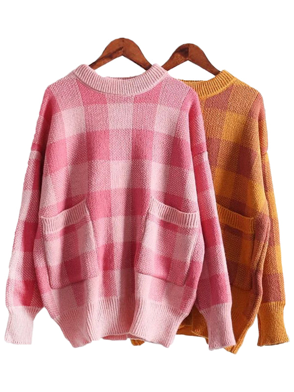 'Paige' Gingham Pocket Sweater (2 Colors)