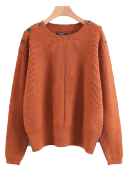 'Christi' Buttoned Shoulder Sweater ( 4 Colors )