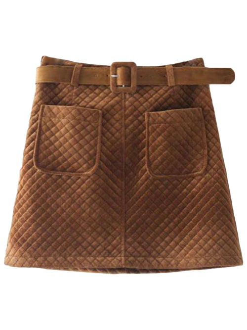 'Stasia' Quilted Belted Skirt (3 Colors)